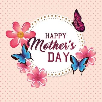 Szczęśliwa karta dzień matki z kwiatów dekoracji