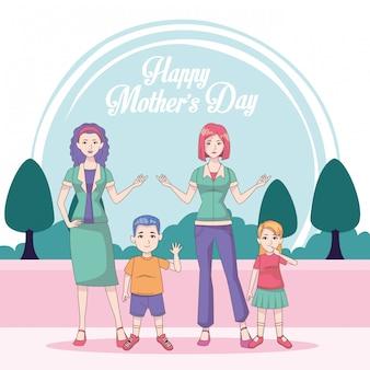 Szczęśliwa karta dzień matki z mamami i dziećmi
