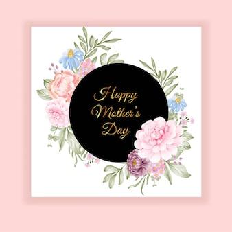 Szczęśliwa karta dzień matki z pięknym kwiatem akwarela