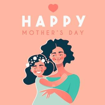 Szczęśliwa karta dzień matki z szczęśliwą kobietą afro american i jej córką