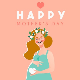 Szczęśliwa karta dzień matki z szczęśliwą kobietą w ciąży