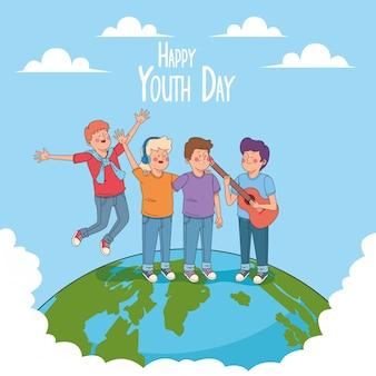 Szczęśliwa karta dzień młodzieży z kreskówek nastolatków