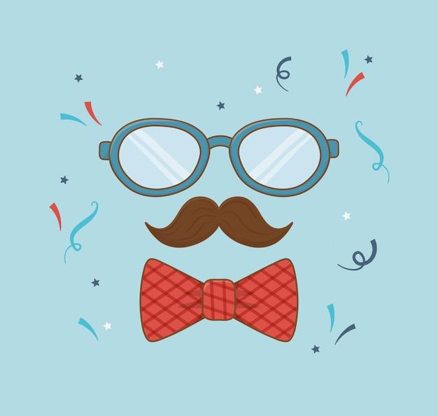 Szczęśliwa karta dzień ojców z wąsami i okularami