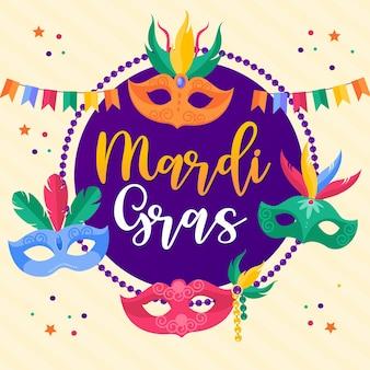Szczęśliwa karta karnawałowa mardi gras