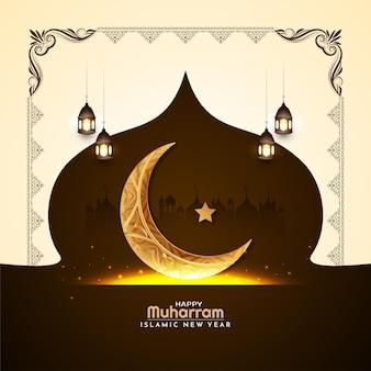 Szczęśliwa karta muharram i islamskiego nowego roku ze złotym wektorem półksiężyca