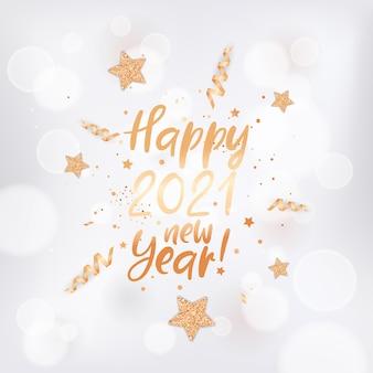 Szczęśliwa karta nowy rok 2021 ze złotymi gwiazdami, konfetti i brokatem na białym niewyraźne tło ze złotą ramą i napisem. elegancka pocztówka z życzeniami noworocznymi, ulotka z zaproszeniem, projekt broszury promocyjnej