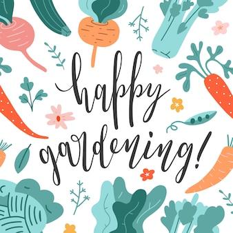Szczęśliwa karta ogrodnictwo z ilustracjami napis i warzyw