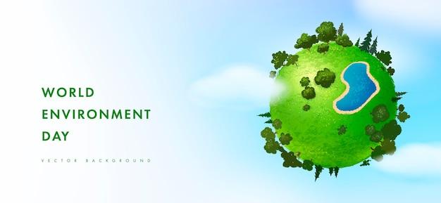 Szczęśliwa karta światowego dnia środowiska z ziemią