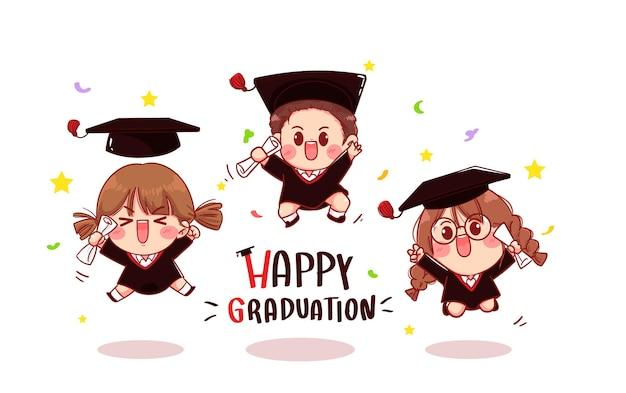Szczęśliwa karta ukończenia szkoły z grupą cute dzieciak kończących studia, ilustracja kreskówka
