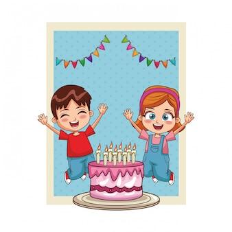 Szczęśliwa karta urodzinowa dla dzieci