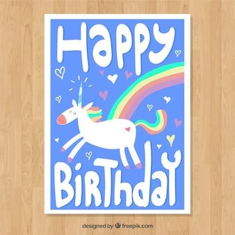 Szczęśliwa karta urodzinowa z jednorożca