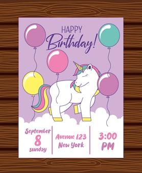 Szczęśliwa karta urodzinowa z jednorożcem