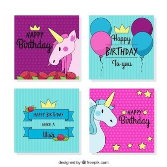 Szczęśliwa karta urodzinowa z ręcznie narysowanych jednorożców