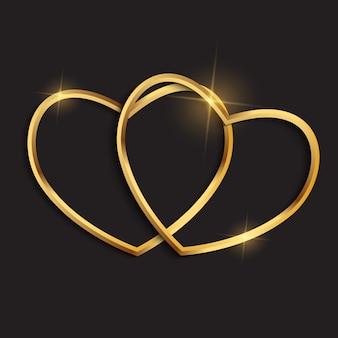 Szczęśliwa karta walentynki z dwoma sercami. ilustracja