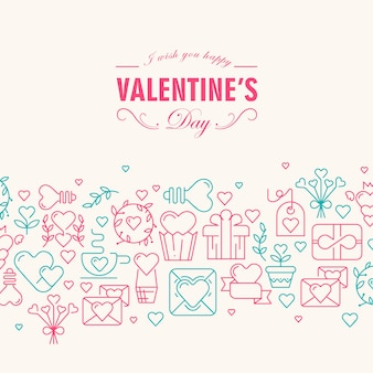 Szczęśliwa karta walentynki z życzeniami być szczęśliwymi, a wiele symboli wzrosło i zielone, takie jak serce, wstążka, koperta, ilustracja