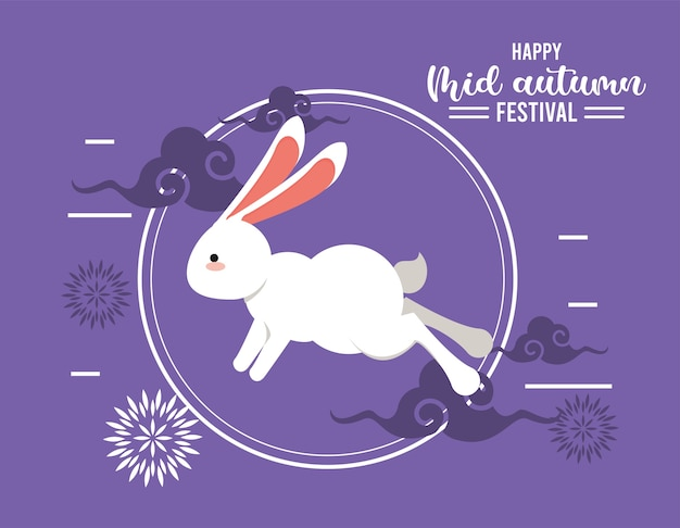 Szczęśliwa karta z napisem w połowie jesieni z królikiem i kwiatami.