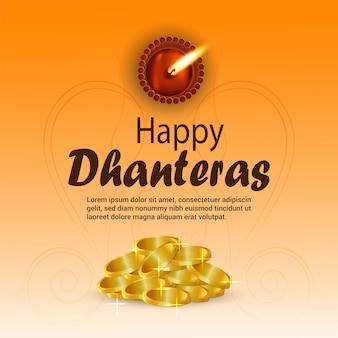 Szczęśliwa karta z pozdrowieniami dhanteras ze złotą monetą i diwali diya