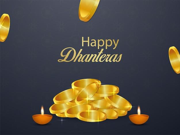 Szczęśliwa karta z pozdrowieniami dhanteras ze złotą monetą