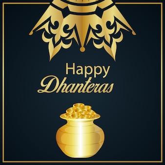 Szczęśliwa karta z pozdrowieniami dhanteras ze złotym puli na monety i złotą monetą