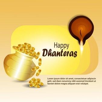 Szczęśliwa karta z pozdrowieniami dhanteras