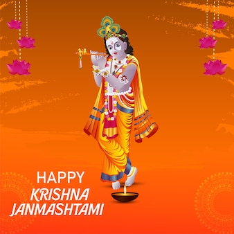 Szczęśliwa karta z pozdrowieniami janmashtami z ilustracją lord krishna