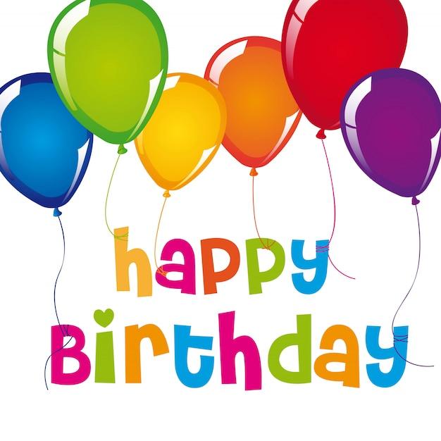 Szczęśliwa kartka urodzinowa z balonami