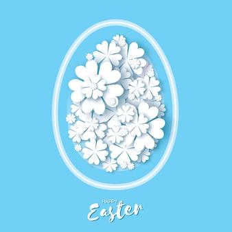 Szczęśliwa kartka wielkanocna. jajko wycięte z papieru, kwiat.