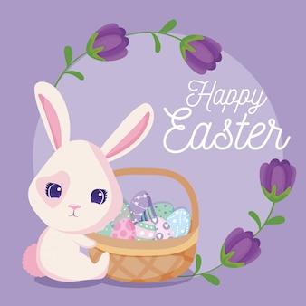 Szczęśliwa kartka wielkanocna, królik z koszem jaj