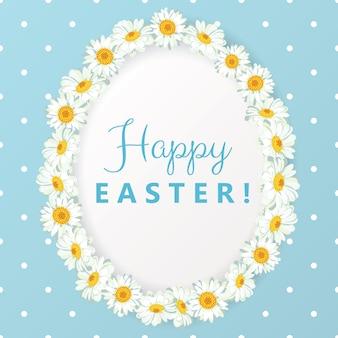 Szczęśliwa kartka wielkanocna. rama w kształcie jajka rumianku na niebieskiej kropce