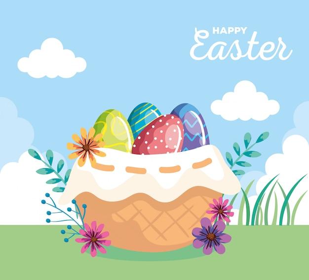 Szczęśliwa kartka wielkanocna z jajkami ozdobionymi wiklinowym koszu