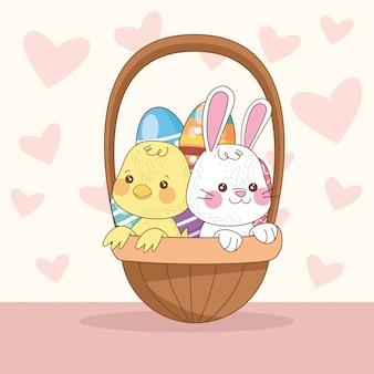 Szczęśliwa kartka wielkanocna z królika i laska w koszyku