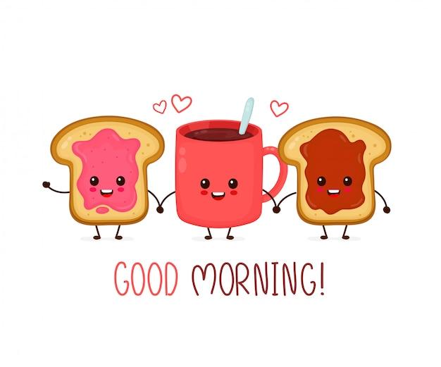 Szczęśliwa kawaii filiżanka herbaty, kawy i tostów z dżemem i masłem orzechowym.
