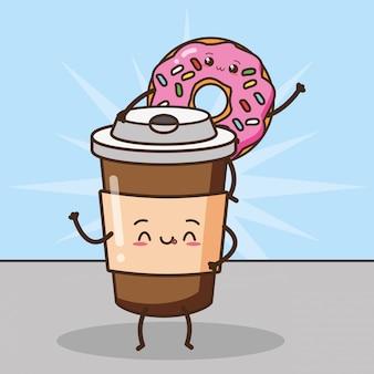 Szczęśliwa kawaii kawa i pączki, karmowy projekt, ilustracja