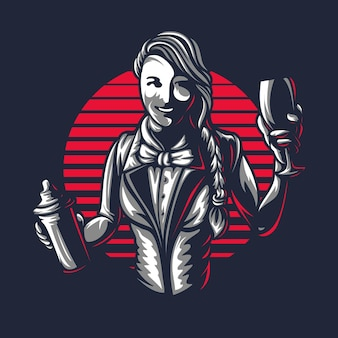 Szczęśliwa kobieta barman lub barman młoda dziewczyna w pracy sylwetka z shakerze w starym stylu grawerowanym retro vintage projekt graficzny logo szablon pieczęć na białym tle na czarnym tle wektor ilustracja godło