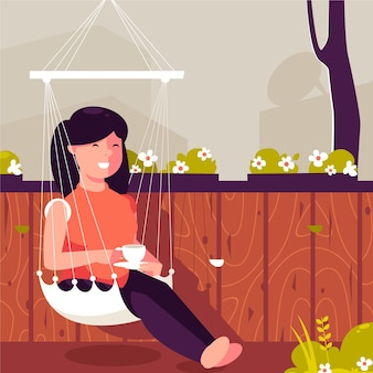 Szczęśliwa kobieta cieszy się jej napoju staycation pojęcie