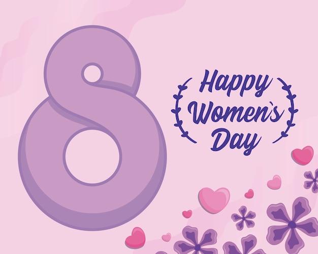 Szczęśliwa kobieta dzień karta z datą numer osiem