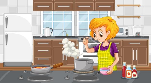 Szczęśliwa kobieta gotuje w kuchni