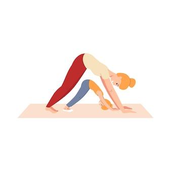 Szczęśliwa kobieta i dziecko w rozciągającej pozycji jogi - zdrowa kreskówka blondynka matka i córka ćwiczenia razem i uśmiechnięte. fitness rodzinne - ilustracja.