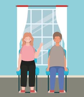 Szczęśliwa kobieta i mężczyzna kreskówka siedzi na siedzeniu
