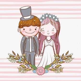 Szczęśliwa kobieta i mężczyzna z roślin liści