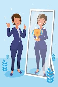 Szczęśliwa kobieta korporacji wykonała swoją pracę jako wizjoner i misja oraz świętując, koncepcja sukcesu przywództwa i rozwoju kariery, płaska ilustracja