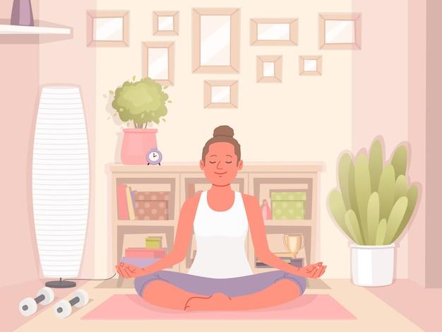 Szczęśliwa kobieta robi joga w domu. relaks i koncentracja. zdrowy i aktywny tryb życia. ilustracja wektorowa w stylu płaski