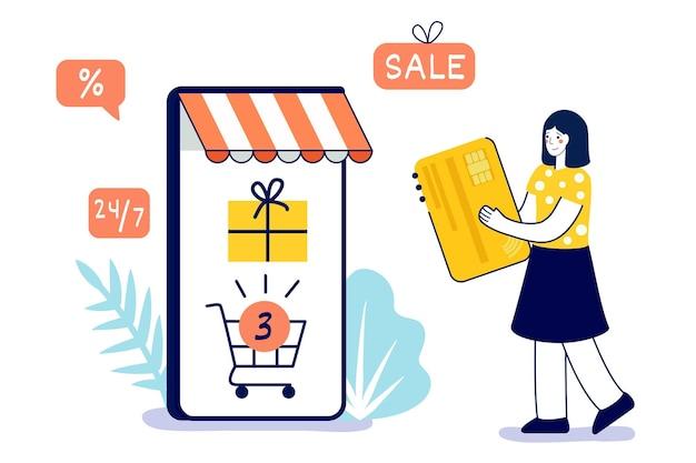 Szczęśliwa kobieta robi zakupy online w domu przez aplikację mobilną za pomocą karty kredytowej i smartfona vector