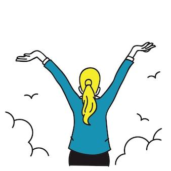 Szczęśliwa kobieta rozciąganie rąk