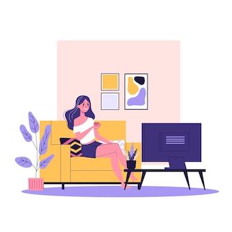 Szczęśliwa kobieta siedzi na kanapie i oglądać program telewizyjny. wygodna kanapa, relaks w domu. ilustracja w stylu kreskówki
