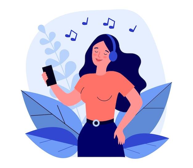 Szczęśliwa kobieta słuchania muzyki w słuchawkach. smartphone, uwaga, zabawna płaska ilustracja