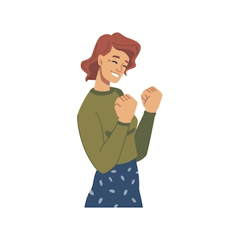 Szczęśliwa kobieta świętująca sukces lub gest szczęścia
