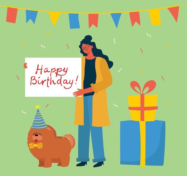 Szczęśliwa kobieta świętuje z prezentami i psem