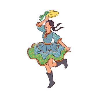 Szczęśliwa kobieta tańczy w sukience festa junina - tradycyjne święto brazylii w czerwcu. kreskówka dziewczyna w stroju ludowym z okazji brazylijskiej festy, na białym tle.