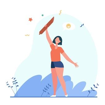 Szczęśliwa kobieta trzyma salami. kiełbasa, mięsożerca, ilustracja wektorowa płaska przekąska. jedzenie, smakosz, gastronomia